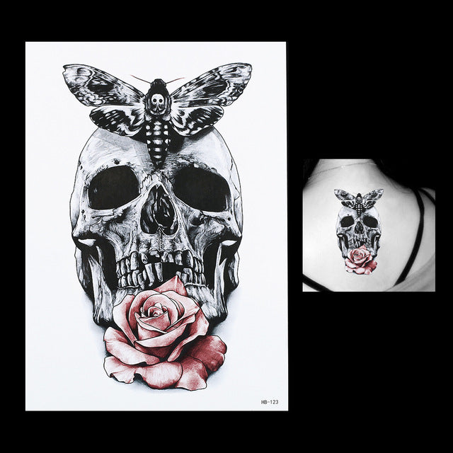 Large Skull Rose Temporary Tattoo