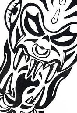 Tribal Demond Large Vampire Black  Zombie Temporary Tattoo
