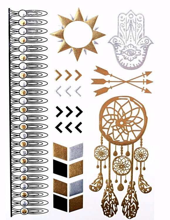 Bohemian Metallic Gold Temporary Tattoo
