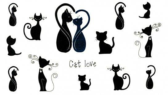 Cat Love Temporary Tattoos - Cats (Black Cats)