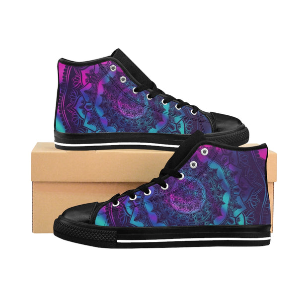 Mandala Neon Women's High-top Sneakers