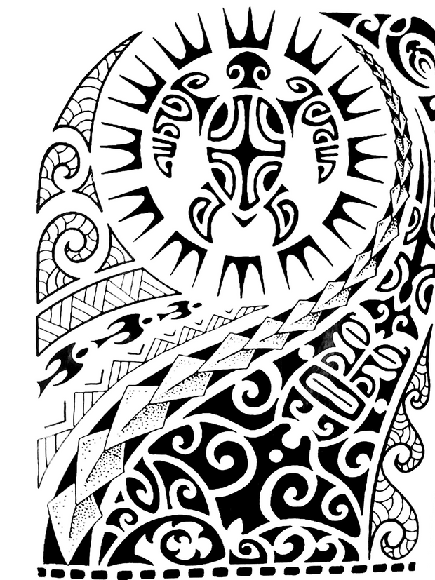 Tribal/Maui Sleeve Black Temporary Tattoo