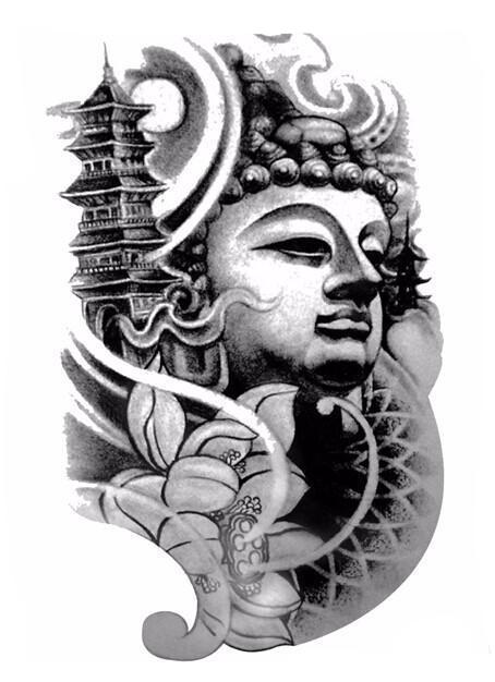 Large Black Temporary Buddha Tattoo