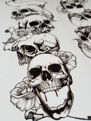 Large Arm Skull Temporary Tattoo Black (2 in 1 sheet)