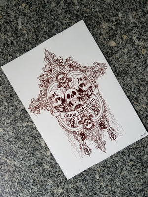 Skull Temporary Tattoos Body Arm Tattoo Sticker  [Brown]