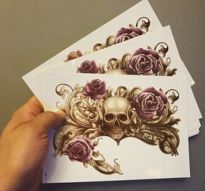 Chest Skull Temporary Tattoo Purple Roses Large