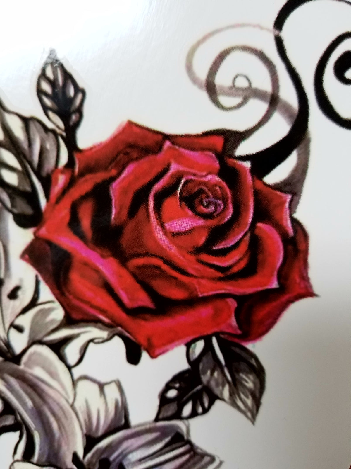 Vintage Red Rose Temporary Tattoo