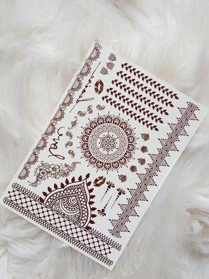 Henna Tattoos (6 Sheets) Mandala Mehndi Temporary Brown Tattoo Designs