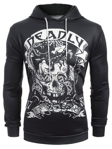 Skull Snake Print Pouch Pocket Pullover Hoodie