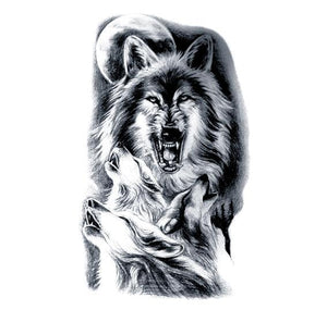 Wolf Full Moon Temporary Tattoo Black Large for Men and Women