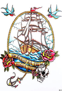 Vintage Nautical Sailboat Tattoo Large