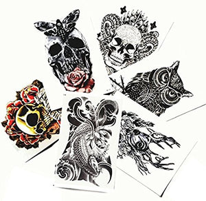 "Large Non-Toxic Temporary Tattoos | Set of 6 Fake Tattoos (Skull, Koi Fish, Owl, Rose, Butterfly & Deer) | 6"" x 8""  Removable Body Art Tattoos"