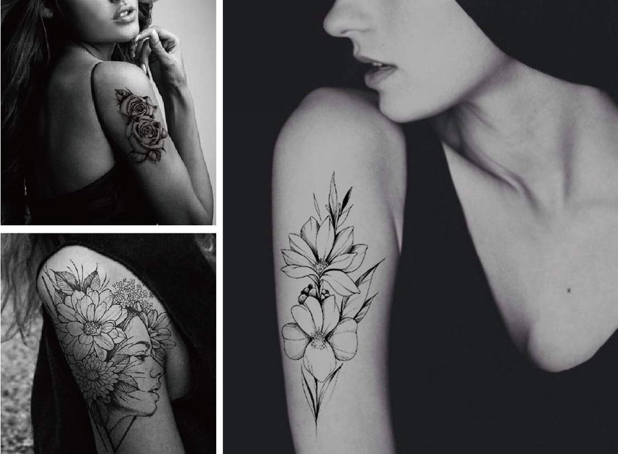 Lot 22 Sheets Black Flower Temporary Tattoo