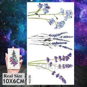 COKTAK 12Pieces/Lot 3D Watercolor Lavender Flower Temporary Tattoos For Women Body Art Arm Fake Flora Adults Tattoo Sheet Sticker Waterproof Girls Tatoos Paper
