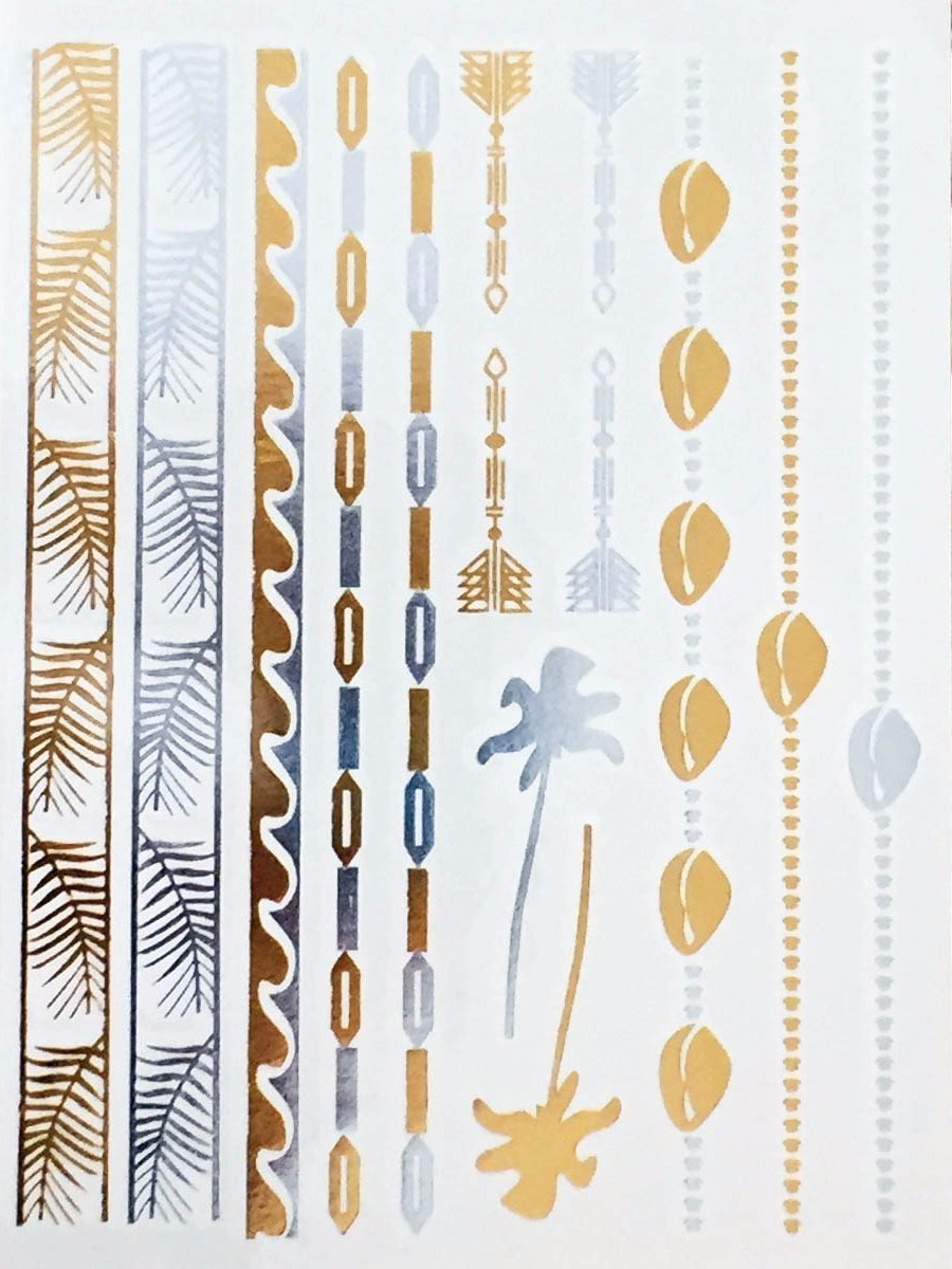 Ocean Gold and Silver Metallic Temporary Tattoos
