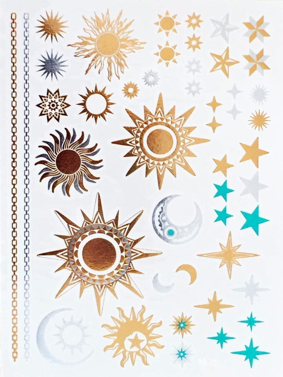 Moon & Sun Metallic Temporary Tattoos