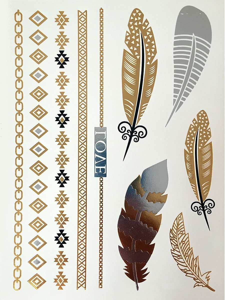 Feather Bracelet Metallic Temporary Tattoos