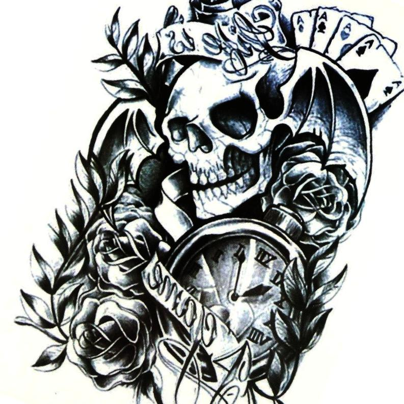 Arm Large Skull Rose Temporary Tattoo