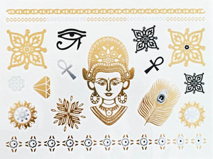 Gold Silver and Black Metallic Temporary Tattoos