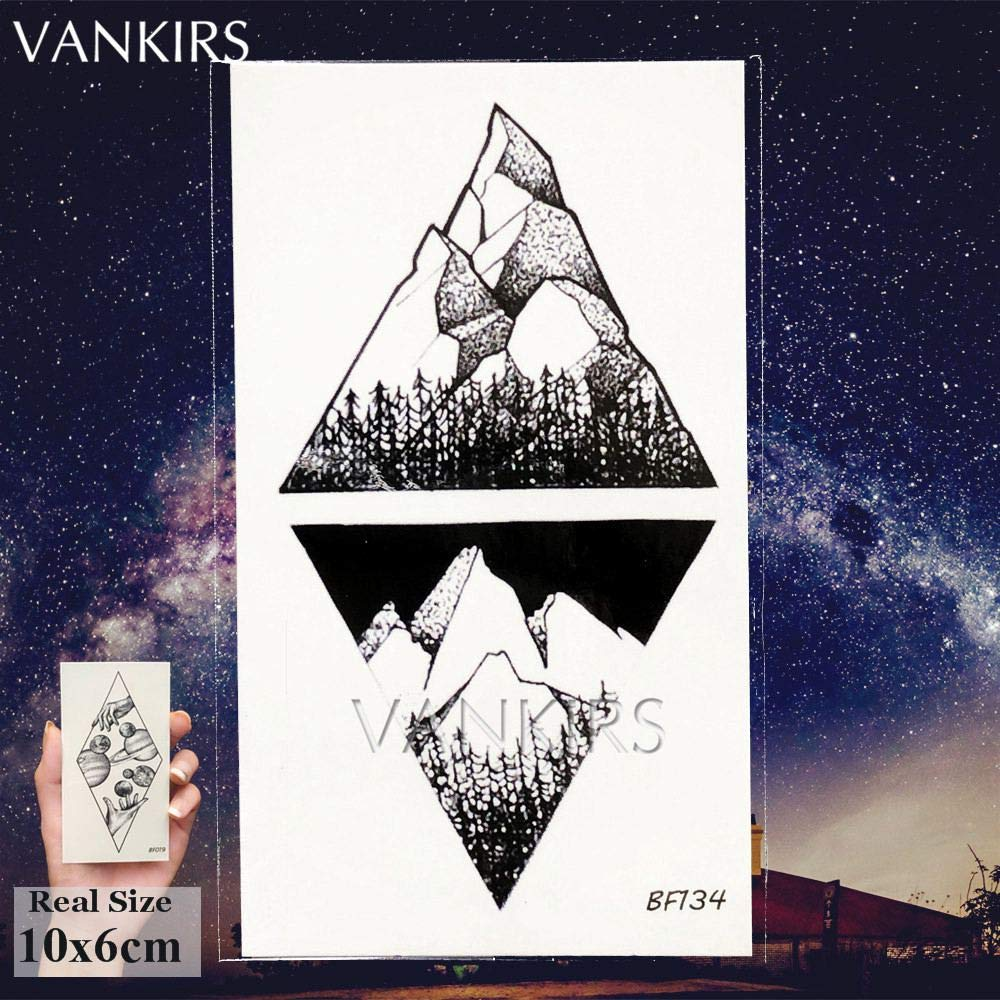 12 Pieces/Lot Geometry Triangle Mountain Temporary Tattoo Sticker Cover Women Body Arm Art Drawing Waterproof Fake Black Sea Weave Tatoos Paper Custom 10x6CM