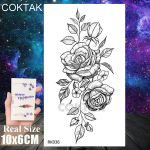 COKTAK 12Pieces/Lot Sexy Realistic Flower Temporary Tattoos For Women Girls Body Art Black Small Rose Waterproof Geometric Adult Fake Tattoo Stickers