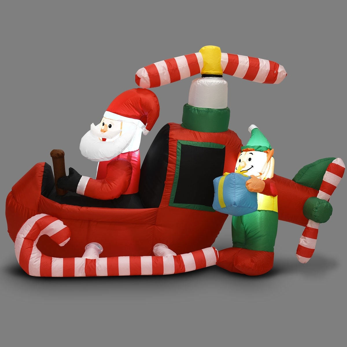 Christmas Decoration Inflatable Flying Airplane Santa 6'