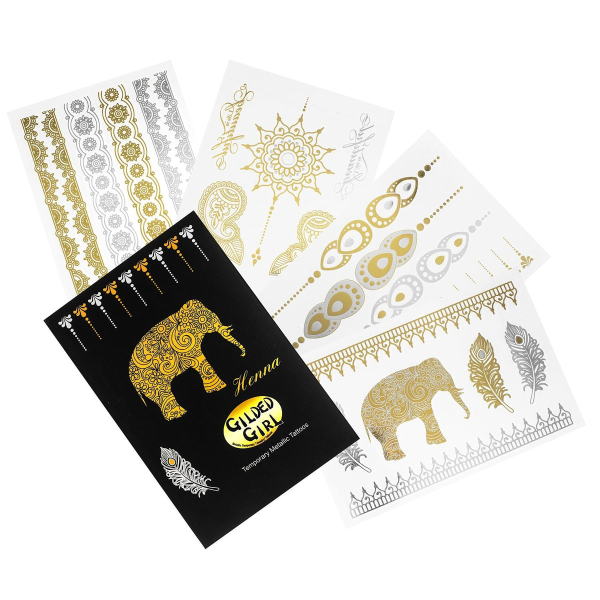Premium Henna Metallic Tattoos - Gold and Silver - Flash Temporary Bling Tattoo