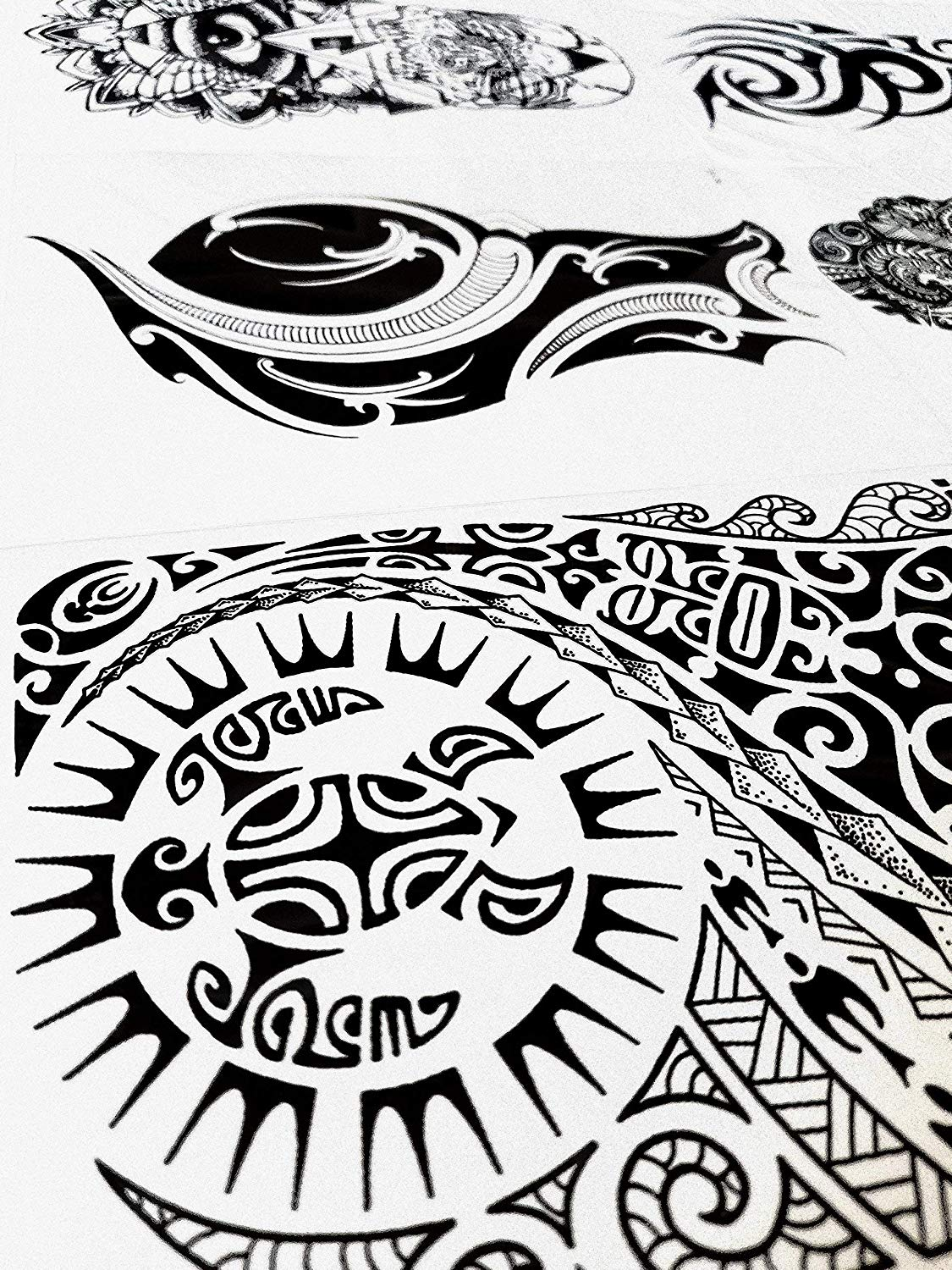 Gilded Girl 6 Large Tribal Temporary Tattoos Realistic Designs for Arm/Back/Shoulder Waterproof Body Art Removable Black Tattoo