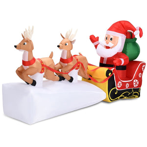 Outdoor Christmas Inflatable Santa Claus on Sleigh 2 Reindeers 7'