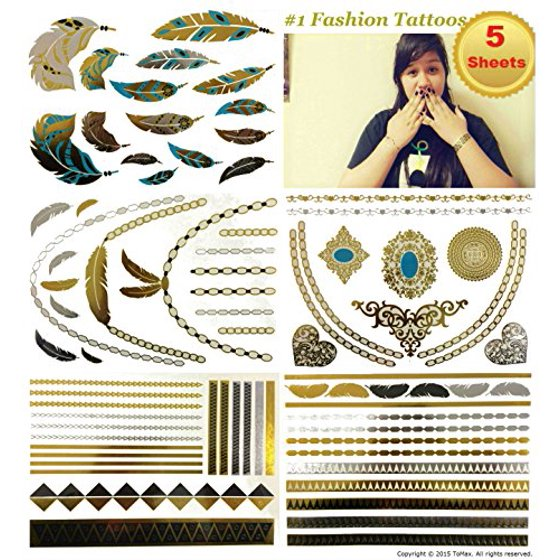 Metallic Gold Silver Black Jewelry Temporary Bling Tattoo All-In-One Package 5 Sheets (S1 Style)