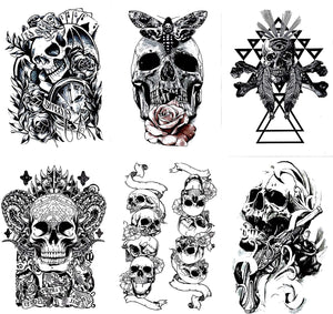 Gilded Girl Skull & Skeleton Pirate Tattoos (Set of 6) Body Art for Men & Women Waterproof Large Arm Temporary Tattoo