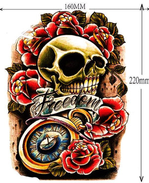Vintage Floral Skull Temporary Tattoo