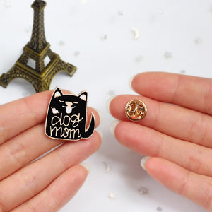 Black Punk Series Brooches Skull Hand Palm LET'S HIDE Dog Shark Lapel Pin Enamel Badges Backpack Jackets Gothic Accessories Gift