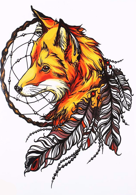 Half Sleeve Fox Dream Catcher Temporary Tattoo