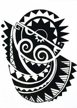 Moai Large Tribal Black Temporary Tattoo
