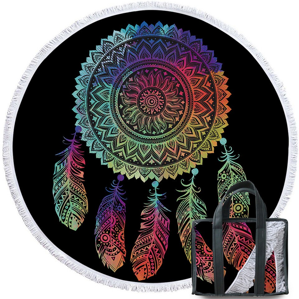 BeddingOutlet Colorful Dreamcatcher Tassel Mandala Tapestry Black Round Beach Towel Toalla Sunblock Blanket Yoga Mat 150cm