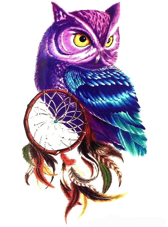 Large Owl Dreamcatcher Feathers Temporary Tattoo