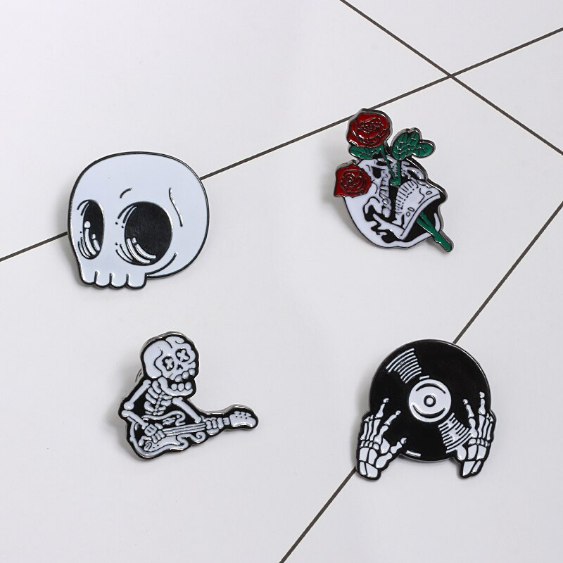 Punk Dark Brooches Enamel Pins Skull Skeleton Coffin Lapel Pin Let's Hide Seek Play Conjure Button Metal Badge Halloween Jewelry