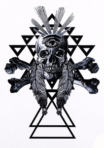 Large Skull Geometric Black Temporary Tattoo