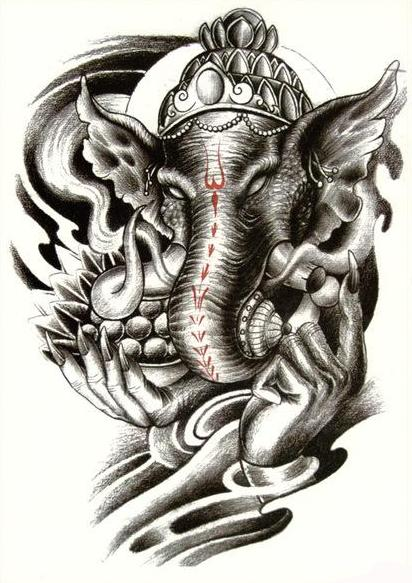 Elephant Buddha Temporary Tattoo Ganesha