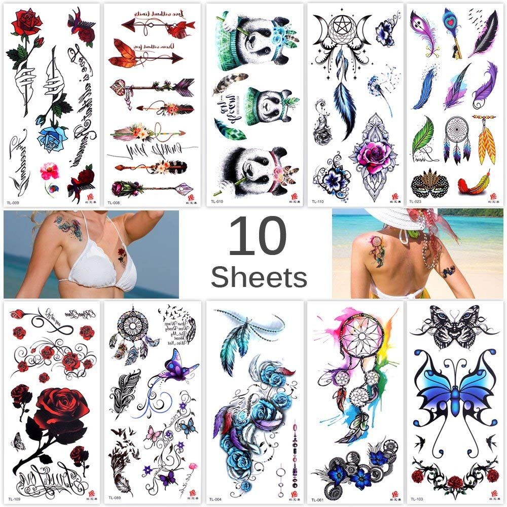 Lady Up 10 Sheets Temp Body Art Temporary Tattoos Fake Tattoo for Women Kids Butterfly Flower Rose Feather Pattern Waterproof Stickers