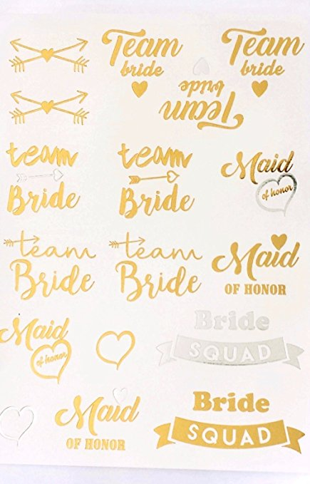 Metallic Bachelorette Party Tattoos Bride Tattoos