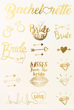 Metallic Bachelorette Party Tattoos Bridal Shower
