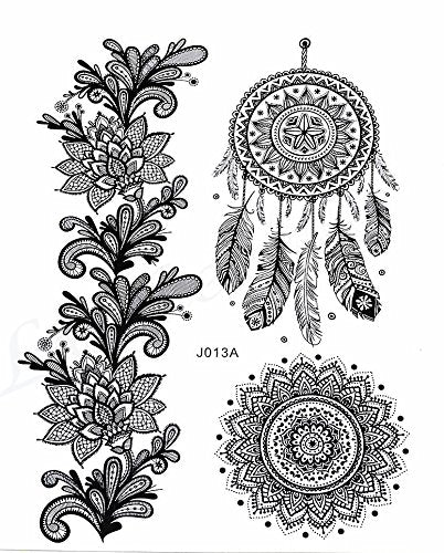 Black Dream Catcher / Mandala Temporary Boho Tattoo