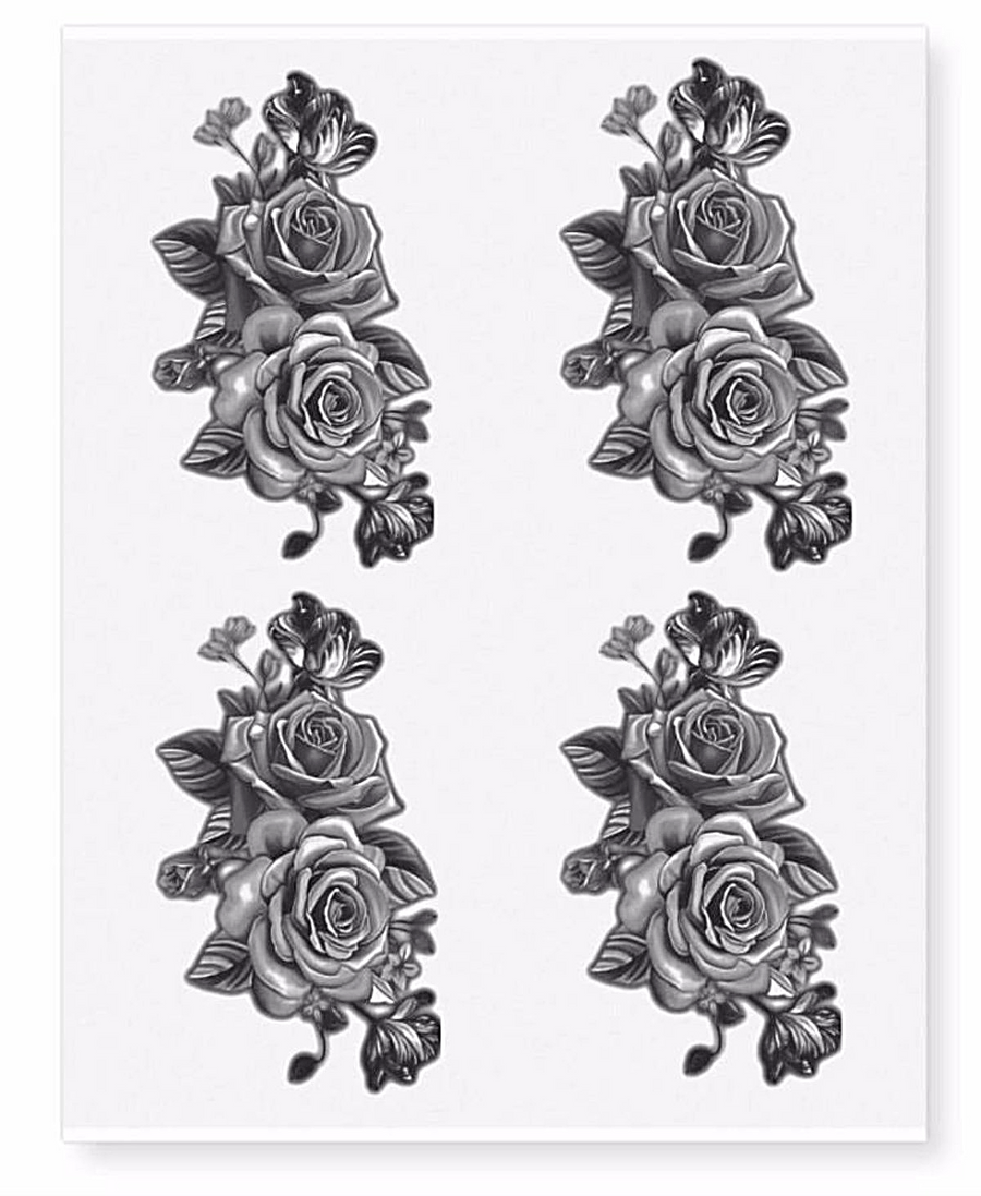 Twin Black Rose Flower Temporary Tattoos (4 in 1 sheet)