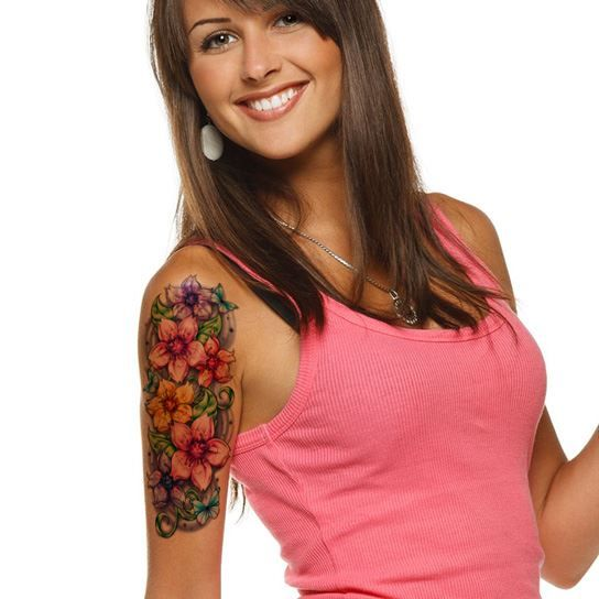 Colorful Sleeve Cherry Blossom Temporary Tattoo