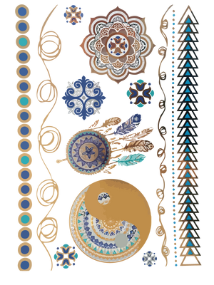 Turquoise and Color Metallic Temporary Tattoos