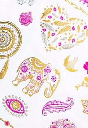 Metallic Pink & Gold Temporary Tattoos