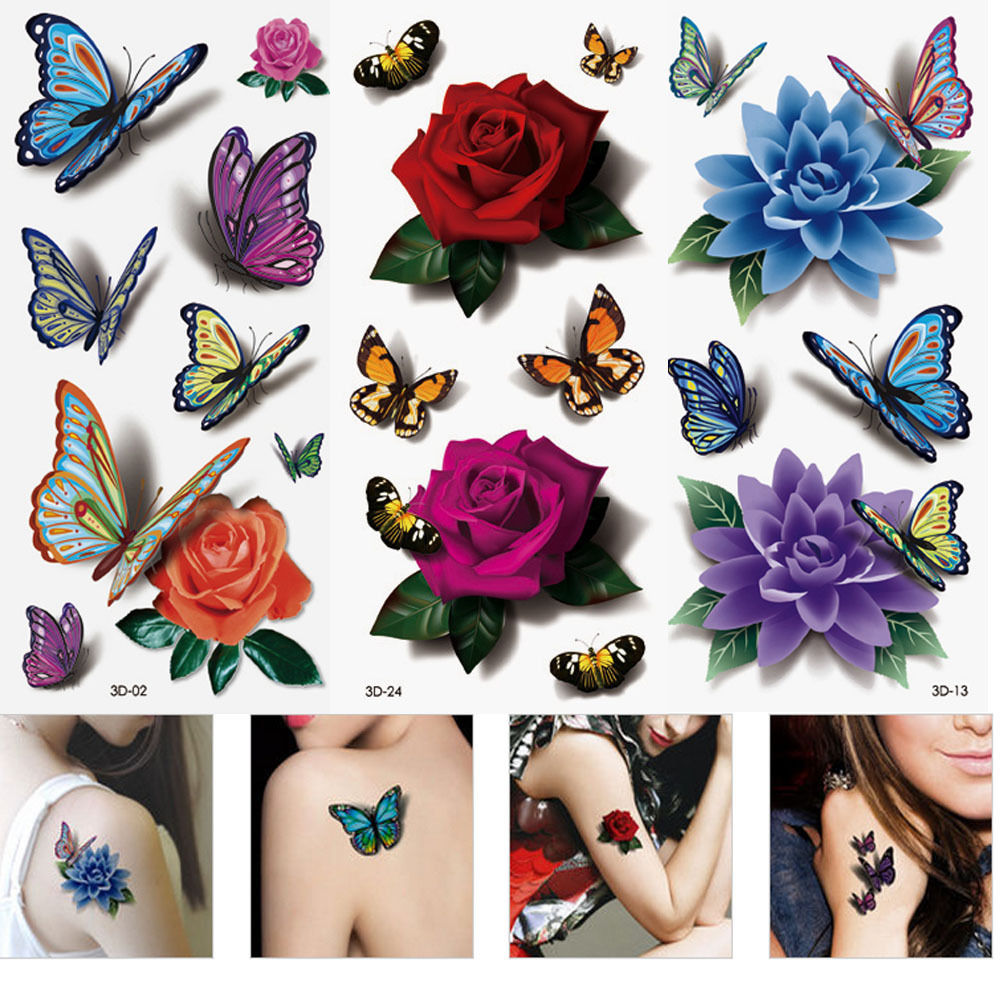 Bright Colorful 3D Flower Temporary Tattoo  (Pack of 12 Sheets)