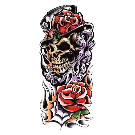 Large Skull Grim Colored Skull Tattoo